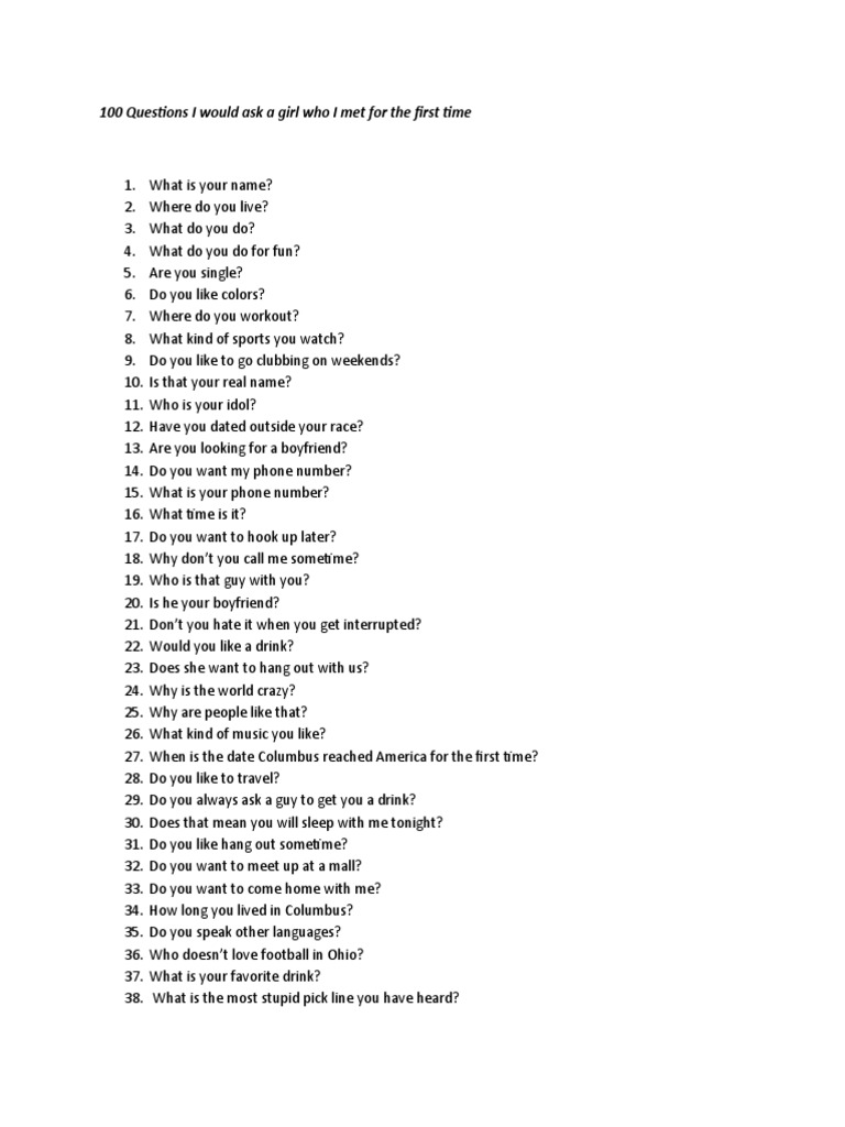 100 questions to ask your girlfriend