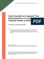 Francisco Garrido Escobar (2004). Que Sucedio en Copiapoz Una Aproximacion a la Cultura Copiapo desde la Alfareria