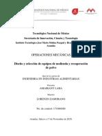 Diseño y selección de equipos de molienda y recuperación de polvo