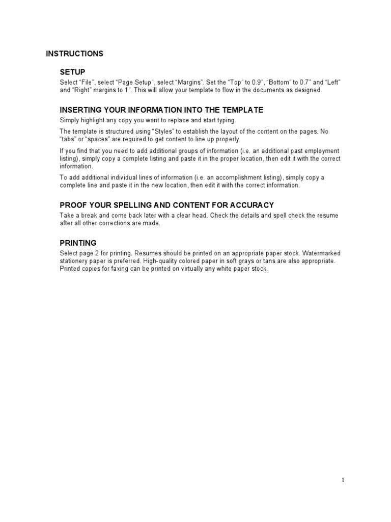Free Resume Template Rsum Email