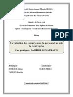 L évaluation des compétences du personnel au sein de l entreprise Cas pratique _ La DRGB SONATRACH
