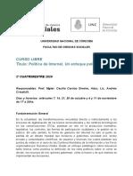 Programa CURSO LIBRE POLITICA DE INTERNET 2020