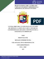 CULTURA TRIBUTARIA Y SU INFLUENCIA EN LA EVASIÓN DEL IMPUESTO A LA RENTA DE CUARTA CATEGORÍA DE LOS PROFESIONALES ABOGADOS Y ODONTÓLOGOS DE LA CIUDAD DE ILAVE, PERÍODO 2017.pdf