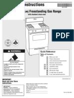 gas cook range service manual