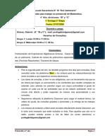 4° AÑO - MATEMATICA - 1° ENTREGA -  2° ETAPA - Prof. Gómez Gabriel