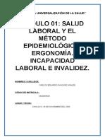 MÓDULO 01 SALUD LABORAL Y EL MÉTODO EPIDEMIOLÓGICO. ERGONOMÍA. INCAPACIDAD LABORAL E INVALIDEZ..docx