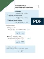 Ficha- regras operatórias dos logaritmos