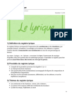 Le registre lyrique