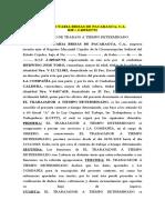 CONTRATO DE TRABAJO A TIEMPO DETERMINADO AGROPECUARIA