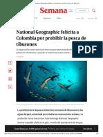 National Geographic felicita a Colombia por prohibir la pesca de tiburones