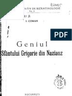 Ioan G Coman_Geniul Sf Grigorie de Nazianz