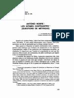 António Nobre - les Intimes Contraintes - questions de métrique