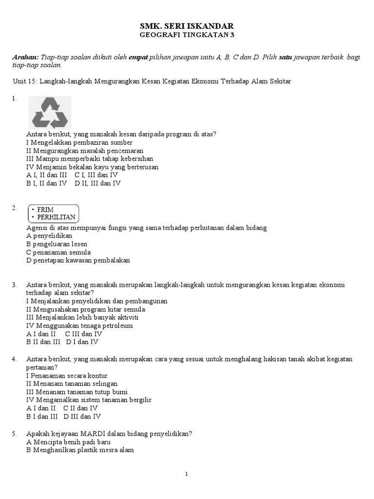 Latihan Ting 3 Unit 15 Langkah Mengatasi Masalah Kegiatan Ekonomi
