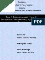 Tarea 4_Resumen y resumen_ Tema 1.4 Procesamiento, almacenamiento y organización de la información_ Nuri Gómez_03 de octubre del 2020