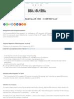 Bbamantra Com Introduction Companies Act 2013