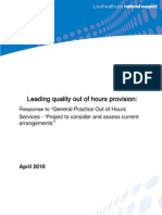 Leading quality out of hours provision - response