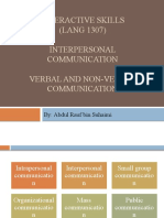 Interpersonal Comm, Verbal and Nonverbal Comm (L2)