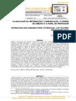 05 - Tecnologias da Comunicação e Informação O ensino do Direito e o papel do professor