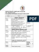 Cronograma  de Quimica General. QMA-103. Semestre 3. Periodo academico 2017-2018