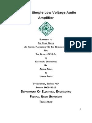 Design a Simple audio amplifier using LM386   Amplifier