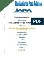 TAREA IV PENSAMIENTO LOGICO MAT. CANDI  SANTOS 2020
