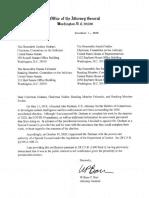 Barr letter to Congress regarding Durham