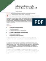 Principales innovaciones en la Constitución de Ecuador del 2008