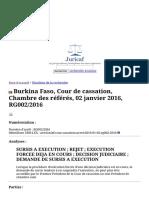 Burkina Faso, Cour de cassation, Chambre des référés, 02 janvier 2016, RG002_2016