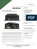 8CH Hard Disk Mobile DVR JH8-HD Spec Sheet