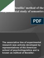 E. Bendiks' method of the experimental study of semantics