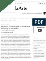 Algumas notas sobre Aristóteles e a definição de poesia - Estado da Arte