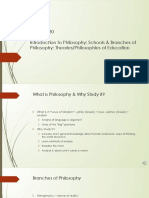 H530 Intro to Philosophy; Schools & Branches of Philosophy; Theories & Philosophies of Education (3).pptx