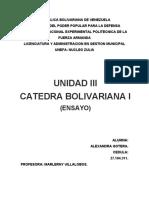 CATEDRA BOLIVARIANA I. UNIDAD III. ALEXANDRA GOTERA