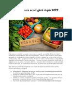 Agricultura ecologică după 2022