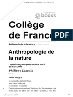 Anthropologie de la nature - Anthropologie de la nature - Collège de France