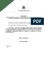 Proiectul Hotărârii Guvernului pentru modificarea Anexei nr. 1 la Hotărârea Guvernului nr. 416/2007