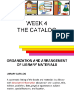 WEEK 4 - The catalog