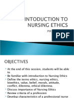 INTODUCTION TO NURSING ETHICS
