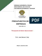 GUIA NRO 04. Presupuesto de Gastos y de Capital.  PRESUPUESTO DE LAS EMPRESAS.docx