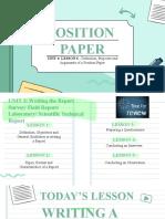 LESSON 6 POSITION PAPER