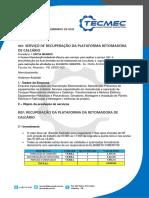 PROPOSTA REFERENTE RECUPERAÇÃO DA PLATAFORMA DA RETOMADORA DE CALCÁRIO