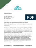 Carta del Proyecto Dignidad a Pedro Pierluisi