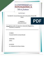 DEBER 4 CATEDRAEnsayo sobre los tipos de evaluación (Diagnóstica, formativa y sumativa)