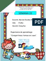 experiencia de aprendizaje SEMANA 22  SETIEMBRE