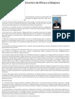 Documento final do Encontro de África e a Diáspora — Portal da Câmara dos Deputados