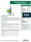 MULTI MINERAL AND VITAMIN SUPPLEMENT SELL SHEET