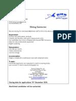 Diving Instructor Job Adv