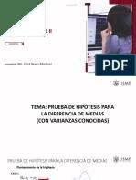 PRUEBA DE HIPOTESIS PARA LA DIFERENCIA DE MEDIAS CON VAR. CONOCIDAS