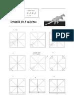 Origami dragon de tres cabezas