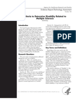 Criteria to Determine Disability Related to  Multiple Sclerosis